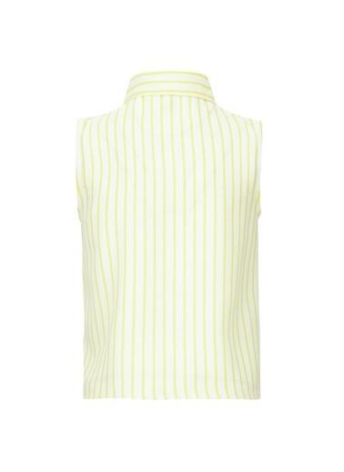 DeFacto Kız Çocuk Çizgili Bağlama Detaylı Kolsuz Gömlek Sarı